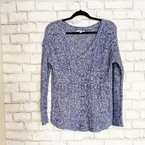 American Eagle Marled Blue V Neck Sweater Small
